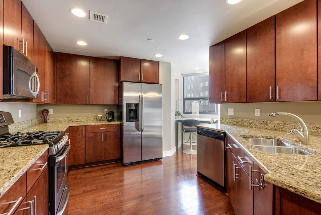 Kitchen with hardwood flooring