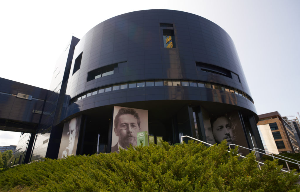 The sapphire-blue Guthrie Theater is the largest and most well-known theater in Minneapolis.