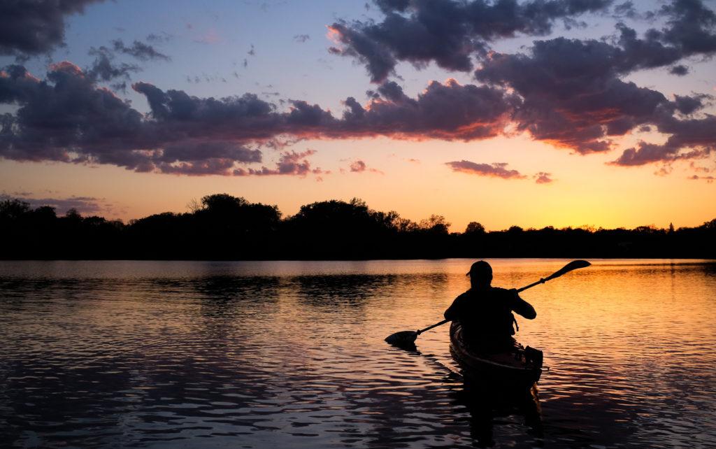 Kayaking on Lake of the Isles in Minneapolis.
