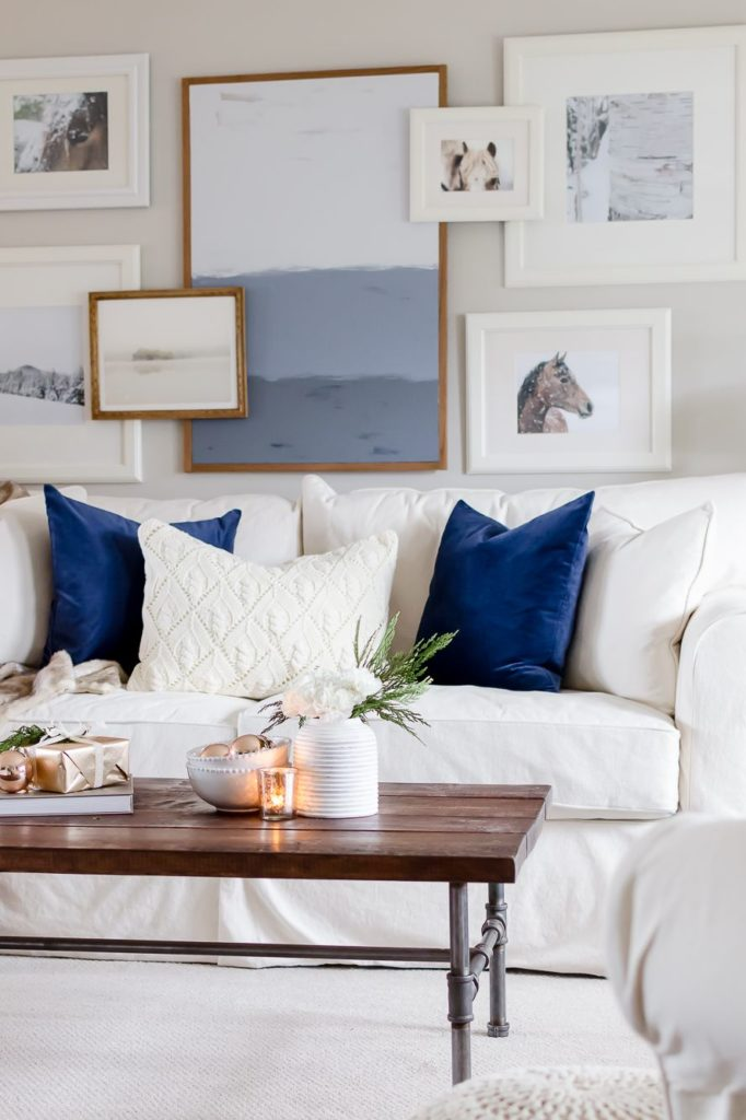 blue and white winter home decor