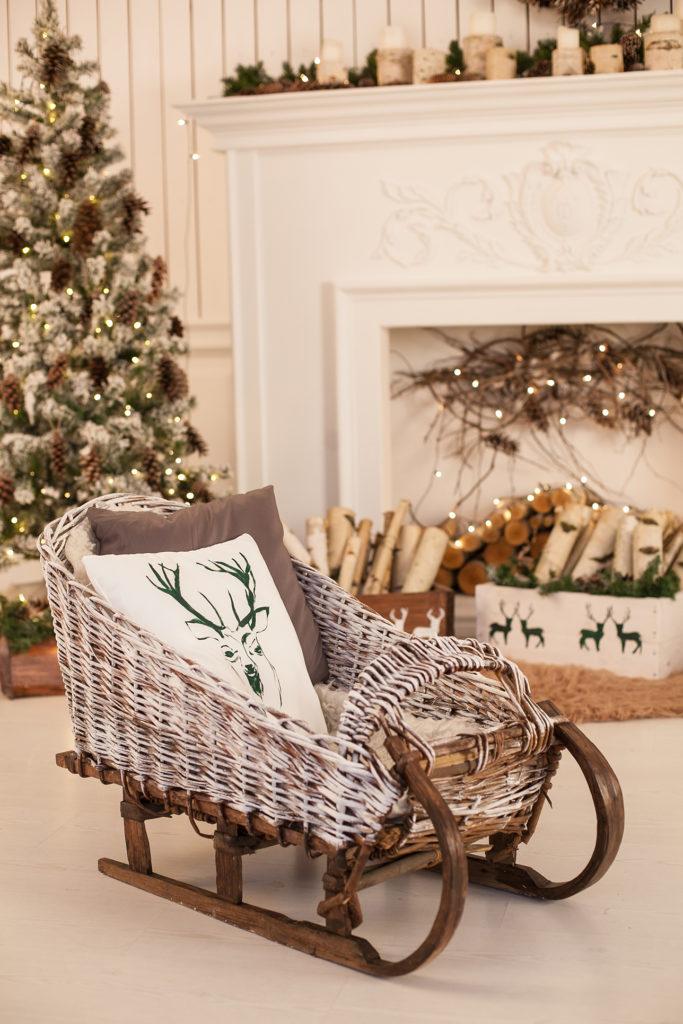 Christmas home decor wicker sled