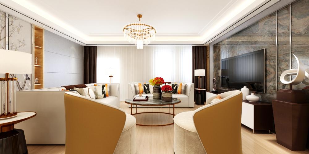 Warm tones help create layered space.