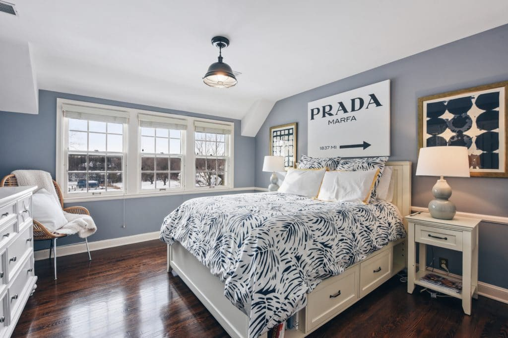 Classic blue bedroom at 2760 Woolsey Lane
